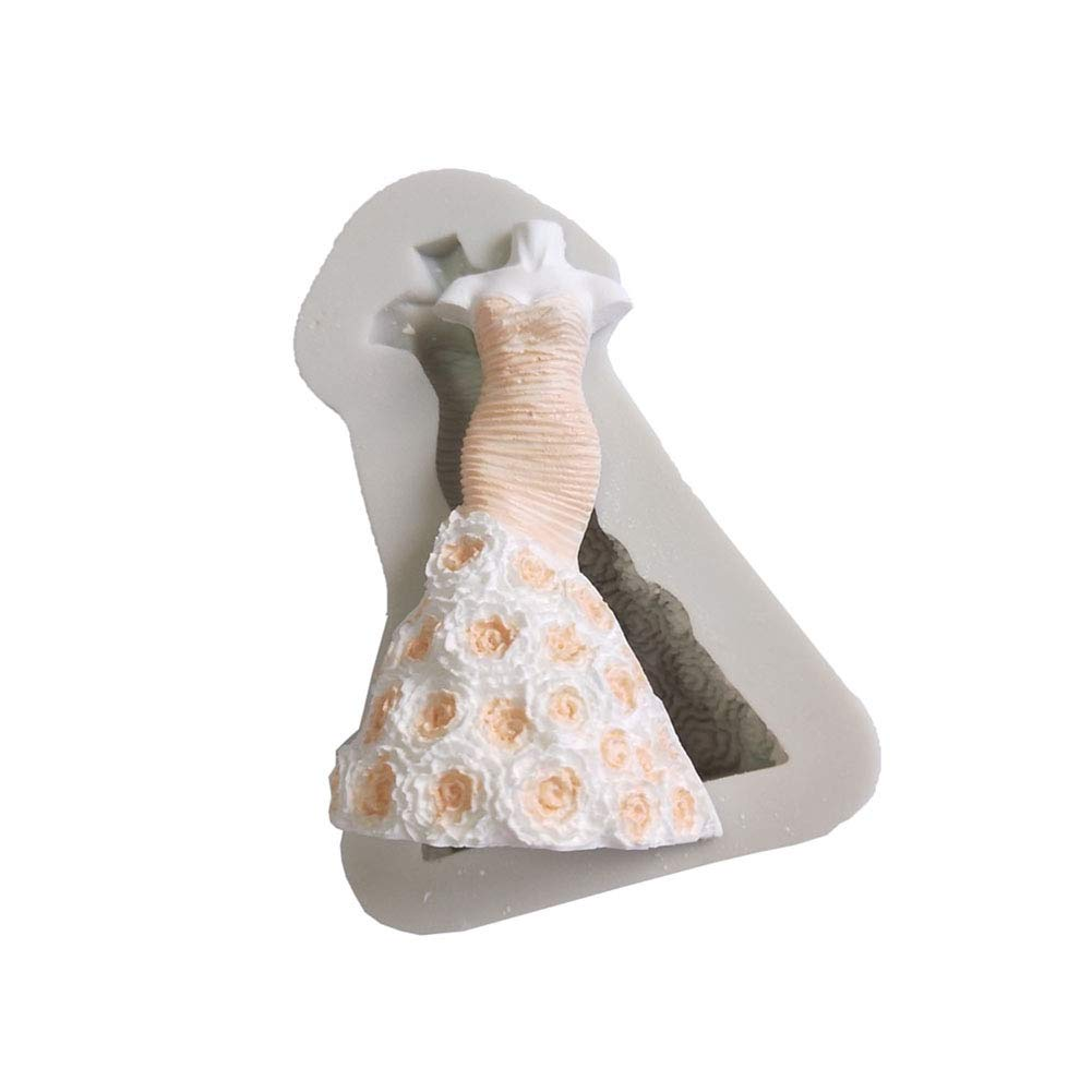 display08 3D Wedding Princess Dress Silicone Mold Fondant Cake Decorating Tool Bakeware - White