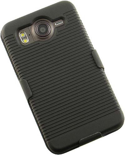 NEW BLACK RUBBERIZED HARD CASE + BELT CLIP HOLSTER FOR HTC INSPIRE 4G DESIRE-HD