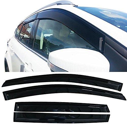 Window Visor Fits 2013-2018 Ford Escape   Slim Style Dark Smoke 4PC Set Acrylic by IKON MOTORSPORTS   2014 2015 2016 2017 ()