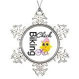 Personalised Christmas Tree Decoration Biking Chick Christmas Snowflake Ornament Tree Chick Humor