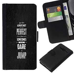KLONGSHOP // Tirón de la caja Cartera de cuero con ranuras para tarjetas - TIEMPO PERFECTO - Samsung Galaxy Core Prime //