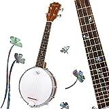Kmise Banjolele 4 String 23 inch Sapele Wood Concert Banjo Ukelele Uke (white)