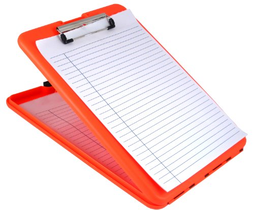 Saunders Bright Orange SlimMate Plastic Storage Clipboard – Letter Size Form Holder. Ergonomic Recordkeeping Clipboard for Professionals. Stationery Supplies - Form Holder
