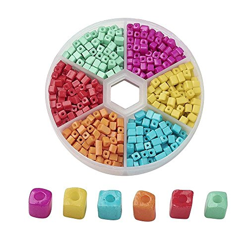 AMZ Beads - 1,000+ Mixed 6/0 (3-7mm) Assorted Square Cube Loose Spacer Seed Beads for Jewelry Making Craft DIY Projects Necklaces Bracelets - Includes Storage Container Case! (Candy ()