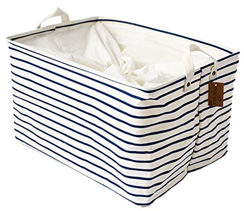 LNHOMY Collapsible Rectangular Storage Basket Bins Large Cotton Linen Storage Basket Box for Laundry Nursery Toys,Kids Room, Blue Stripe (15.6