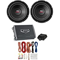 2) PYLE PLPW12D 12 3200W Car Subwoofers Stereo Woofer+ 2 Ch Amplifier+Amp Kit