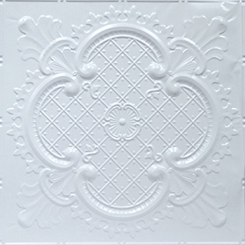Shanko W500DA Pattern 500 Pressed Metal Wall and Ceiling Tiles, 20 sq. ft, White, 5 Piece (Decorative 5 Piece Tile)