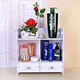 Honean Beauty Makeup Organizer with drawers, Wood Plastic Cosmetic Vanity Holder, Small Bathroom Counter Storage, Non-drilling Wall Mounted Hanging Shelf, White (Left&right drawers)