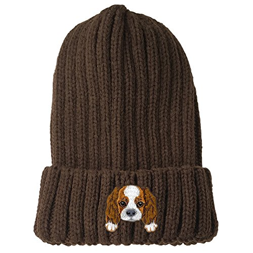 [ Cavalier King Charles Spaniel ] Cute Embroidered Puppy Dog Warm Knit Fleece Winter Beanie Skull Cap [ Brown ] (Hat Spaniel Embroidered)
