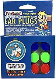 PUTTY BUDDIES Floating Earplugs 3-Pair Pack – Soft Silicone Ear Plugs for Swimming & Bathing – Invented by