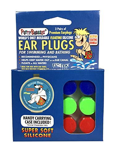 (PUTTY BUDDIES Floating Earplugs 3-Pair Pack - Soft Silicone Ear Plugs for Swimming & Bathing - Invented by Physician - Keep Water Out - Premium Swimming Earplugs - Doctor Recommended (Blue/Red/Green))