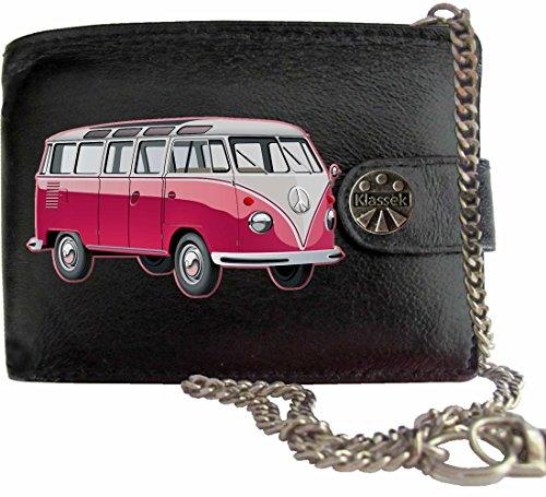 Rosa T1 VW Camper Klassek Herren Geldbörse Geldbeutel Portemonnaie mit Kette Volkswagon Wohnmobil Zubehör