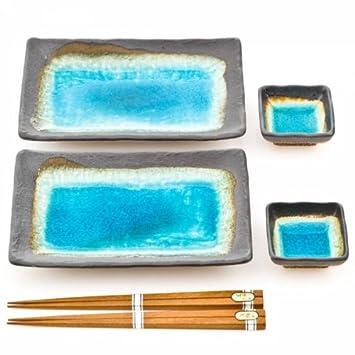Blau Crackleglaze Japanischer Keramikplattensatz Fur Sushi Und