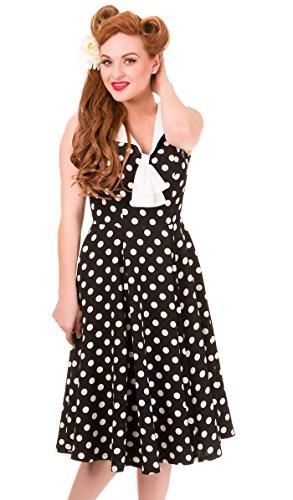 Banned Schwarz mit Punkte Polka Kleid Damen Dots Dots Retrokleid Rival weißen P0qTPgwxr