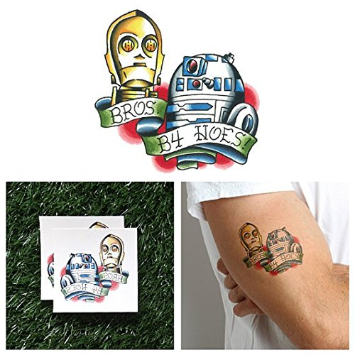 Tattify R2D2 And C3P0 Temporary Tattoo - BFFs (Set of 2) - Other Styles Available and Fashionable Temporary Tattoos