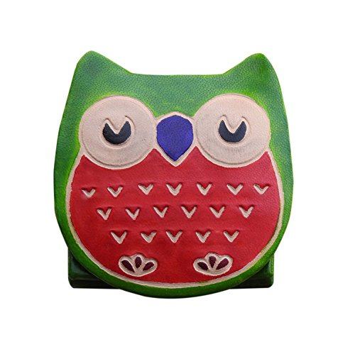 Leather Coin Pouch Money Wallet Owl Design Change Purse Case Holder (Owl-Green) (Louis Vuitton Canvas Belt)