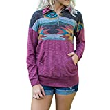 Clearance Women Clothing - WEUIE Fashion Womens Long Sleeve Print Pockets Zipper Sweatshirt Pullover Blouse Tops(S,Purple)