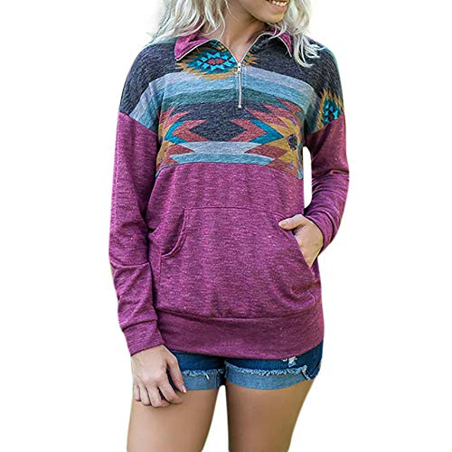 Simayixx Sweatshirts for Women Zipper Pullover Sweaters Women Print Patchwork Long Sleeve Casual Tops Plus Size (Cover Breech Line)
