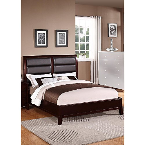 Benzara BM168395 Eccentric Wooden Eastern King Bed with Boxed Faux Leather HB, Dark Brown/Black