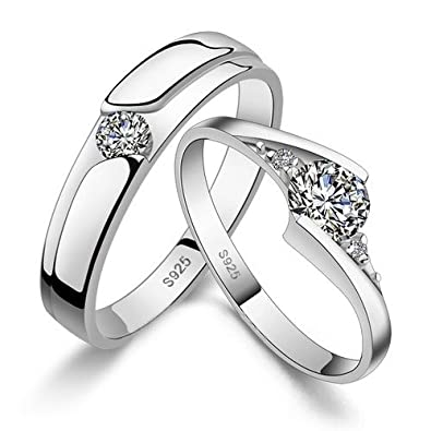 4e7f9c2b06797 RM Jewellers CZ 92.5 Sterling Silver American Diamond Loving Princess  Couple Band for Men and Women