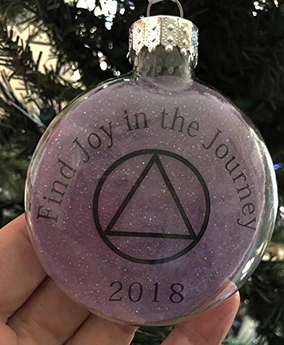 Glass Puffed Flat Ornament Alcoholics Anonymous AA Find Joy in the Journey Laser Printed on Purple Background Recovery Meditation Room Prayer Room Decor Ornament