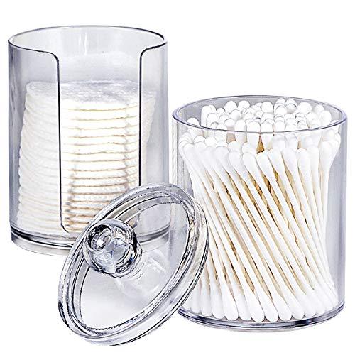 Bathroom Vanity Organizer Qtip Holder Apothecary Jar Set for Qtips,Cotton Pads,Cotton Swabs,Cotton Rounds,Makeup Sponges,Premium Quality Plastic Acrylic, Clear