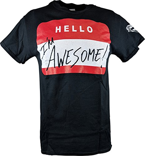 96be1153c Hybrid Tees The Miz Hello I'm Awesome Be Miz Nametag Mens Black T-