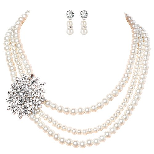 Brooch Earring Jewelry Set (BABEYOND Pearl Necklace Earrings Set with Crystal Brooch Bridal Pearl Jewelry Sets for Women 3 Strands Wedding Pearls (White))