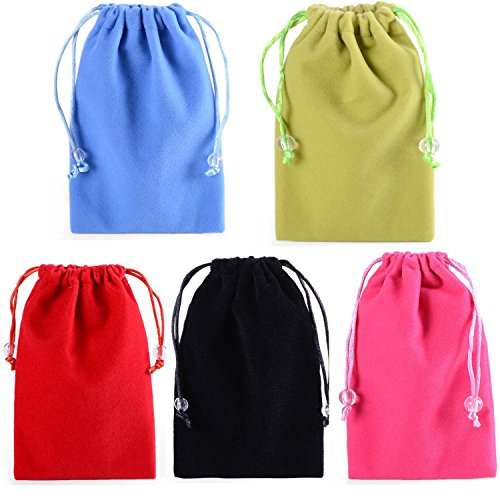 SOSAM 5-Color Microfiber Cleaning and Storage Pouch / Sack / Cases with Drawstring Closure For iphone 6 6plus iphone 5 5S , Samsung HTC ONE / Blackberry Z10 power bank,Sunglasses and Eyeglasses cigarette lighter small portable electronics device Mini Wallet Purse Hand Bag (5 Color) ()