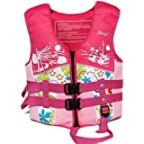Rayma 2016 Children Buoyant-aid Folding Life Jacket/life Vest Dynamic And Brightly colored Swimming Suit For Water Sports & Games Safety Swimsuit (Pink)