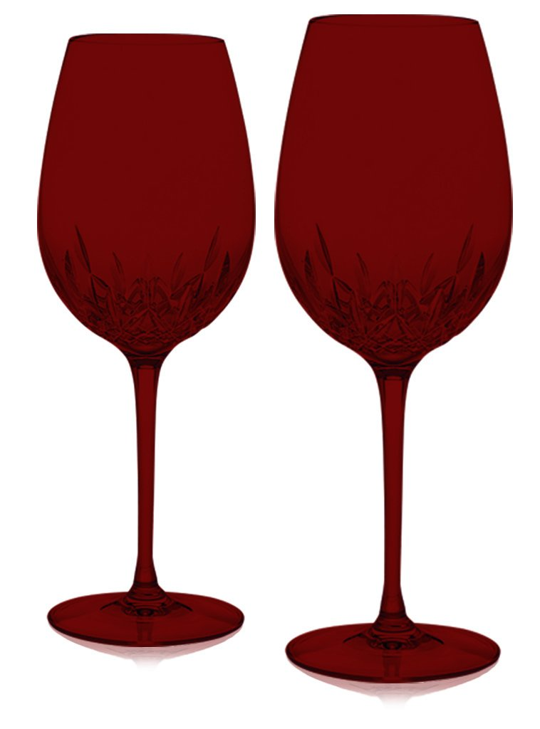 Red Waterford Lismore Essence Wine Goblet Set of 2 - ChristmasTablescapeDecor.com