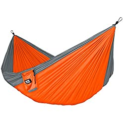 Fox Outfitters Neolite Single Hammock - Lightweight Indoor and Outdoor Nylon Parachute Hammocks for Camping, Backpacking & Travel. Tree Ropes & Carabiners Included
