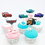 Set24pc / CARS DISNEY Cartoon Movie Theme , Dessert Muffin Cupcake Toppers for Picnic Wedding Baby Shower Birthday Party- Server 24