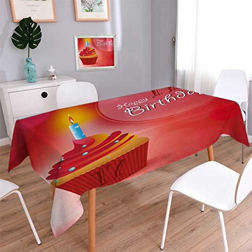 Anmaseven 17th Birthday Oblong Dinner Picnic Table Cloth Sweet Seventeen Party Theme with Cupcake Dessert and Candle Image Waterproof Table Cover for Kitchen Red and Vermilion Size: W60 x L84