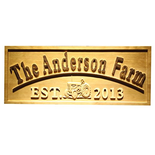 AdvPro Wood Custom wpa0306 Name Personalized FARM with Tractor Home Decoration Housewarming Gifts Wood Engraved Wooden Sign - Standard 23