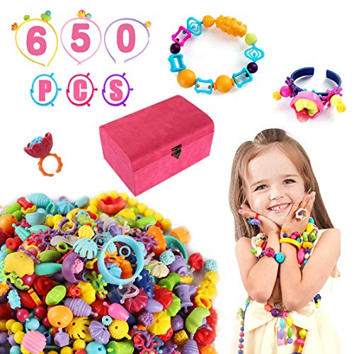 (Pop Beads Set, BPA Free Creativity Beading Toys for Party Games,DIY Bead Crafts Kit for Necklace Bracelet Rings Headband Jewelry Making w/Gift Box for Kids Aged 4 and Up,650+ pcs (PopBeads02))