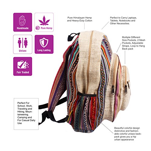 Maha Bodhi All Natural Handmade Large Multi Pocket Hemp Backpack by Maha Bodhi (Image #1)'
