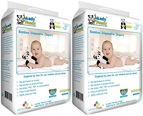 Andy Pandy Premium Bamboo Disposable Diapers, Large, 140 Count