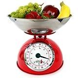 EatSmart Precision Retro Mechanical Kitchen Scale, Red