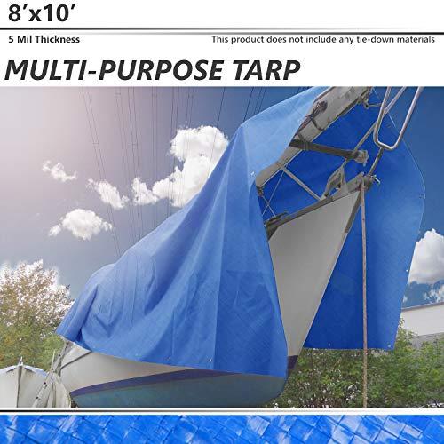 (BOUYA 8' x 10' Tarp 5-mil Multi-Purpose Waterproof Reinforced Rip-Stop with Grommets, UV Resistant, for Tarpaulin Canopy Tent, Boat, RV or Pool Cover, Blue)