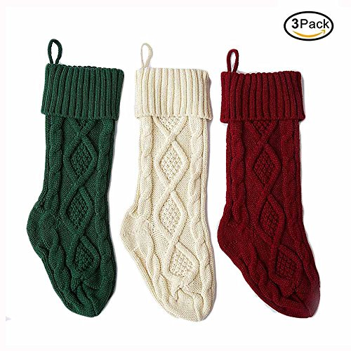 HANTAJANSS 3pcs Knitted Christmas Stockings Christmas Decoration Xmas Gift Bags Fireplace Decor 18