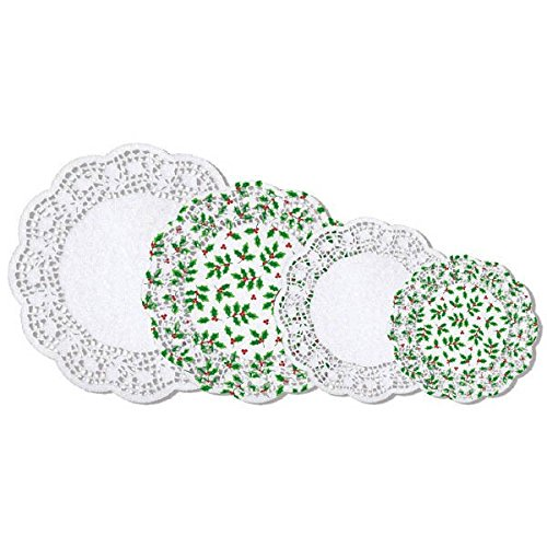 (amscan Assorted Holly Paper Doilies Multipack, 40 Ct. | Christmas)