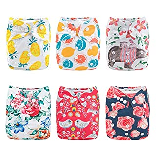 ALVABABY Cloth Diaper, One Size Adjustable Washable Reusable for Baby Girls and Boys 6 Pack with 12 Inserts 6DM63