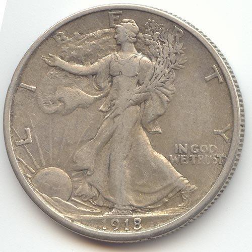 Half Dollar 1918 Silver (1918 S Walking Liberty Half Dollar Extra Fine)