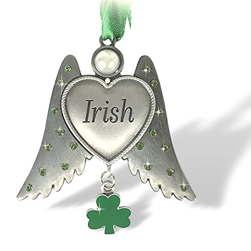 BANBERRY DESIGNS Irish Angel Charm - Irish Ornament with Heart Shaped Angel Wings and an Enameled Shamrock Charm - Car Charm - Irish -