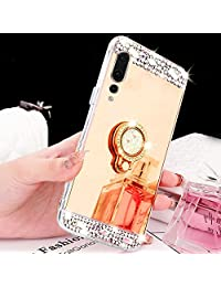 Mirror Case for Huawei P20 Pro,Girlyard Luxury Crystal Rhinestone Soft TPU Gold Bumper Case Bling Glitter Makeup Mirror Back Case with Rotating Ring Stand Holder for Huawei P20 Pro