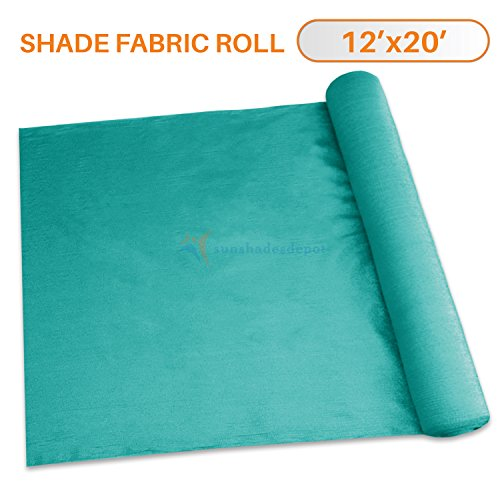 Sunshades Depot 12' x 20' Shade Cloth 180 GSM HDPE Turquoise Green Fabric Roll Up to 95% Blockage UV Resistant Mesh Net (Sunshade Roll Up)