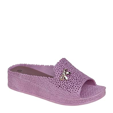 05da217d8e9c Shaylah - Pink Wedged Jelly Sliders  Amazon.co.uk  Shoes   Bags