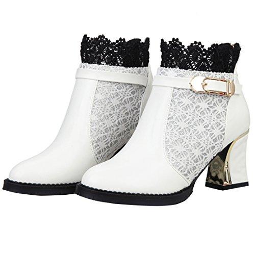 AIYOUMEI Damen Blockabsatz Reißverschluss Kurzschaft Stiefel mit Schnalle und Spitze Elegant Winter Schuhe Weiß