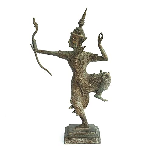 Siam Sawadee Bronze Statue of Lord Rama Thai Artifact Sculpture Ornament Handmade Figurine from Northern Thailand Chiang Mai 3.5×15 Inches
